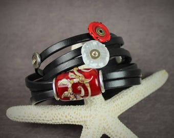 Stephaniebeads red and black lampwork and leather wrap bracelet