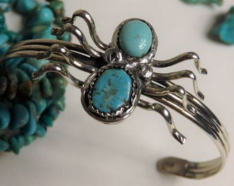 Genuine Arizona TURQUOISE Coin SILVER 80% Ag SPIDER Totem Cuff Bracelet Signed