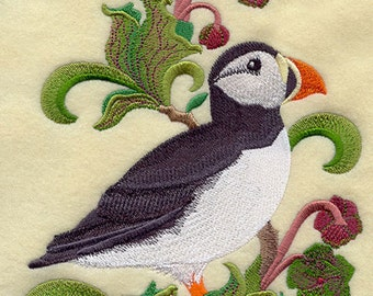 NEWFOUNDLAND & LABADOR ATLANTIC Puffin and Pitcher Plant Medley - Machine Embroidered Quilt Blocks (Azeb)