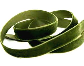 36mm  wide Luxury Velvet Ribbon MOSS GREEN   per metre; High End Quality.  Weddings, Dressmaking, Crafts etc
