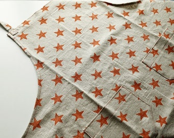 100% linen apron with orange stars, handmade