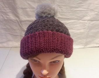 Hat with fuzzy pompom
