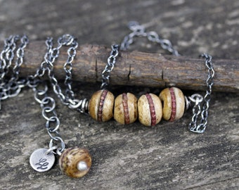 Nepalese bohemian brown bead necklace / sterling silver necklace / gift for her / jewelry sale / rustic necklace / boho necklace / woodsy