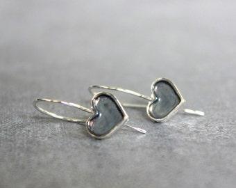 Silver dangle earrings, sterling silver heart earrings, oxidized silver earrings, Valentines day gift