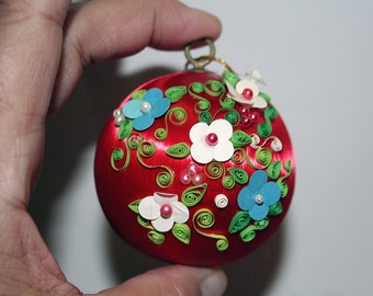 Christmas Ornament, Quilled Ball, Hand Decorated, Quilling Quill, Quilled Flowers, Vintage Ornament, Red Satin Ball, Christmas Tree Ball