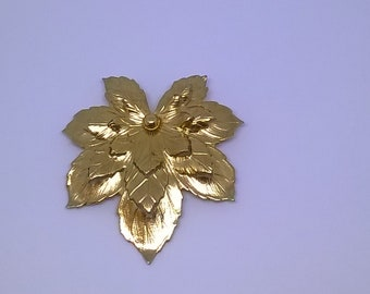 Vintage Sarah Coventry Gold Tone Layered Golden Maple Leaf Pin Brooch Selling As Is