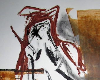 """Abstract Minimal Outsider Art Nude No.0760 Ink & Charcoal on Paper 24x18"""" Original Mature"""