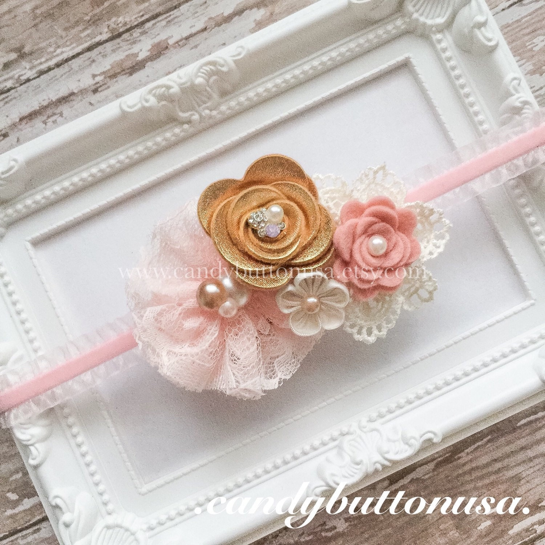 Gold And Pink Baby Headband Gold Pink Birthday Blush Gold