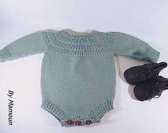 Long sleeve romper (3 months) entirely hand knitted in a soft yarn 100% Merino Wool color almond Green