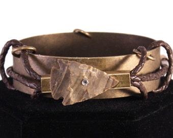 Handmade Tribal Bracelet, Boho, Festival, Warrior Chic, Arrowhead, Sexy, Leather, Rhinestone, Medieval (Warrior Chic Bracelet)