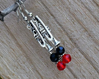 Music Jewelry - Band Charm Jewelry - Trumpet Earrings - Instrument Earrings