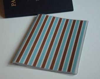 US Passport Cover, Brown & Blue Stripes, Passport  Sleeve, Case, Holder
