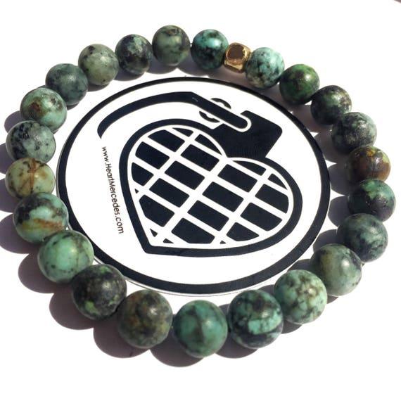 SPECIAL EDITION Honesty Turquoise beaded  Bracelet 8mm, gemstone, mala, marble, Meditation, Yoga, unisex, men