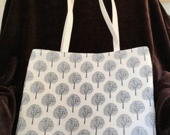 Handmade Tote/Shopper Linen Look Cotton. Fully Lined. Light Money Tree Design