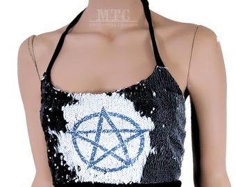 Color Shifting Black White Pentagram Sequin Rave Festival Halter Top - Adult XS - Small - MTCoffinz - Ready to Ship