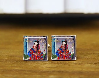 Cool japanese vintage lady geisha cufflinks, portrait art cufflinks, custom wedding cufflinks, round, square cufflinks, tie clips, or set