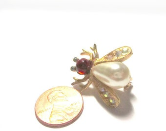 Vintage Bee Scatter Pin Red Cabochon Pearl AB Rhinestones