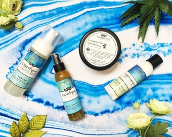 Skincare Set for Normal to Oily or Combination Skin - Cleanser, Scrub, Toning Mist, and Moisturizer
