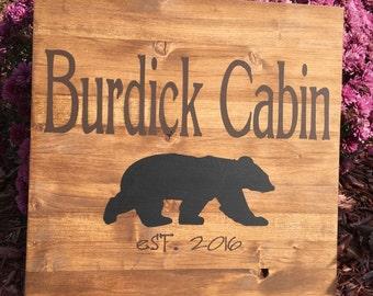 Personalized Custom Wood Sign Bear Cabin