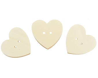 Heart shaped wood buttons for DIY 12 PCS