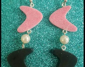 Rockabilly Pinup Girl Boomerang Starburst Tiki Flake Lucite Euro Wire Dangle Earrings Handmade