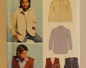 New Look 6417 Simplicity Men's shirt and vest pattern