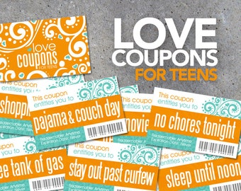 Love Coupons FOR TEENS – Printable Instant Download – Printable coupons for teens & tweens – Teenager Reward Coupons – Stocking Stuffers