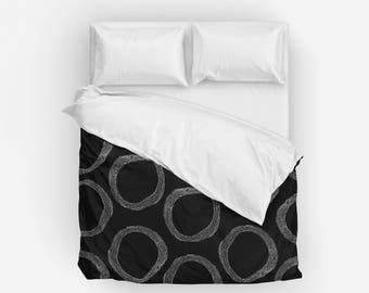 Black and White Duvet Cover, Queen Duvet Cover, King Duvet Cover, Full Duvet Cover, Twin XL Duvet Cover, Twin Duvet Cover, Bedding