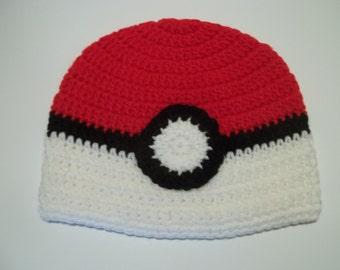Pokemon Pokeball Crochet Hat -3 sizes