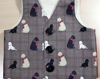 Boys Waistcoat, Vest, Cotton, Dogs, Labradors, Black Dog, Golden Dog, 9 - 12 mths,