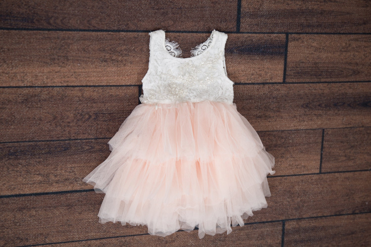 White Lace Infant Flower Girl Dress Blush Pink Tulle Wedding