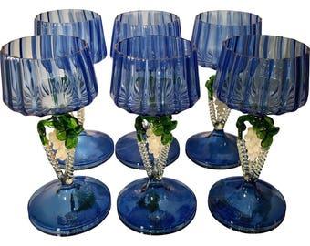 Set of 6 Antique Venetian Glass Wine Stems w Grapes & Cobalt Blue