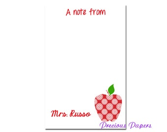 Personalized Teacher note pads Personalized teacher gift Personalized teacher red lace apple notepad apple note pad