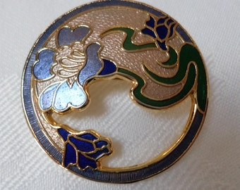 Vintage Round cloisonne brooch Blue Green & gold signed fish crown