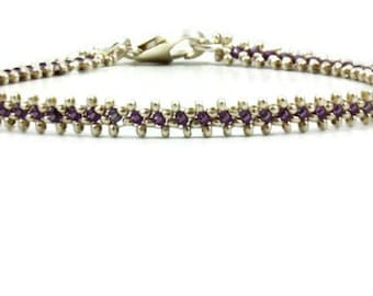 Purple and Silver Anklet - Karen Hill Tribe Silver Chain Ankle Bracelet - Beaded Jewelry - Beach Anklet - Beadwork Jewelry