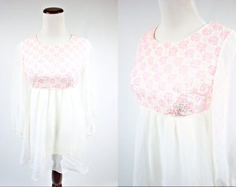 1960's Embroidered White and Pink Floral Peasant Blouse