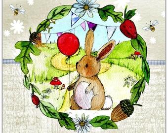 Double 'my little bunny' original design handmade card 14cm x 14cm