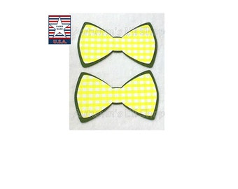 Yellow Bowtie Diecut, Gingham Baby Shower Confetti, Wedding Card Box Decoration, Green Bowtie, Tea Party, Cupcake Topper Bowtie - 24 Ct.
