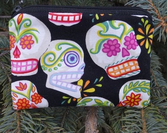 Sugar skulls coin purse, credit card pouch, stitch marker pouch, Day of the Dead, The Raven