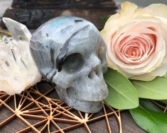 White Labradorite Skull