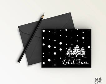 Christmas card - INSTANT DOWNLOAD, Let it Snow Card, Holiday card, White Christmas greeting card, Christmas Printable, Christmas Invitation