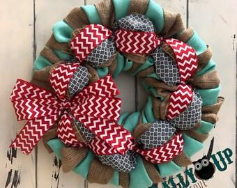 Aqua Wreath, Natural ,  Aqua, Gray and Red Burlap Wreath - Wreath for All Year - Welcome  Wreath - Aqua Wreath -Welcome Friends Burlap
