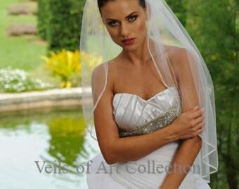 Designer One Tier Embroided Bridal Wedding Veil Fingertip Style VE304 NEW CUSTOM VEIL