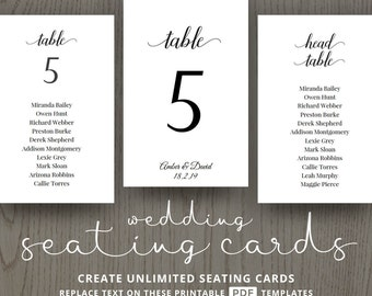 DIY wedding table decorations, cheap, printable table numbers, seating cards, for wedding reception table ideas, instant DIGITAL template