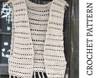Crochet Vest Pattern, Fringe Vest Pattern, Crochet Cover Up, Boho Cardigan, Festival Vest Tutorial, Sleeveless Kimono Pattern, Topanga Vest