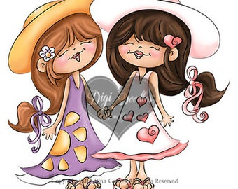 Instant Download Digital Stamp Digi Stamp Girl Friends by Dina Gerner