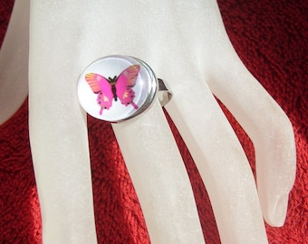Butterfly ring ROSE adjustable silver jewelry: snap fuhsia pink butterfly pattern