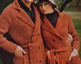 Vintage knitting pattern mens womens raglan cardigan jacket sizes 34 to 42 inches pdf download sweater pattern only pdf 1970s
