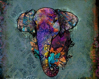 Unique & Trendy Colorful Elephant Art whimsical colorful art on canvas