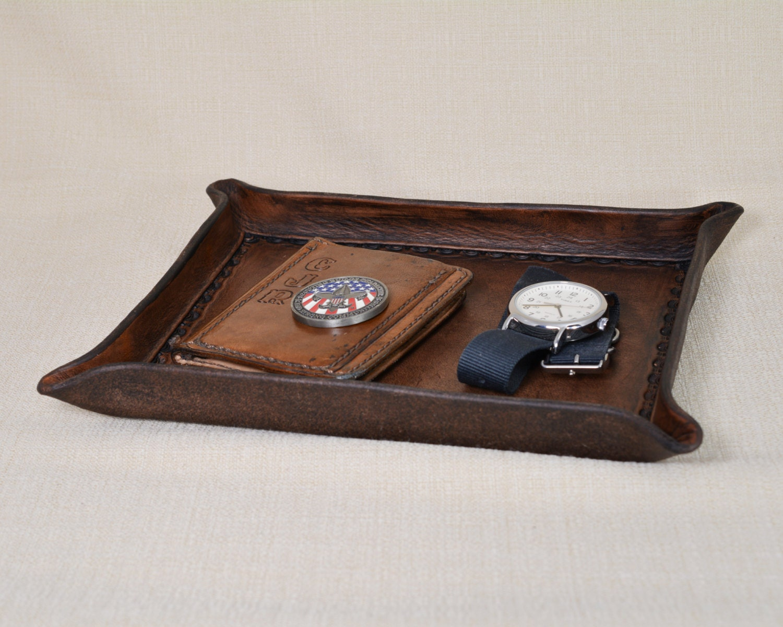 organizer catchall travel black dresser wooden monogrammed all leather nightstand tray mens catch valet desk